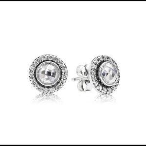 1 Pandora Sterling Silver 925 CZ earring + back